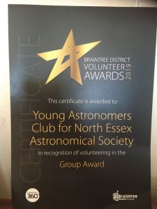 Young Astronomers Club Award